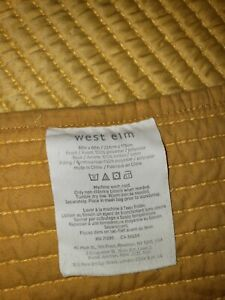 West Elm Twin Size Marigold Goldenrod Yellow Reversible Quilt Coverlet Blanket