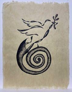 Ortega, Paloma en Metamorfosis Dibujo Original Tinta Puerto Rico Art 19x15, 2004