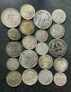 Vintage World Silver Coin Lot - 1700-1944 - 20 Excellent Silver Coins - Lot #A11
