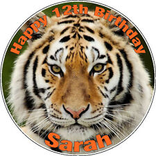 "Personalised Tiger Icing Disc Cake Topper - 7.5"" Pre-cut Circle"