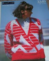Original Hayfield Knitting Pattern Lady's DK Motif Cardigan No 3349