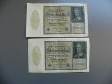 Duitsland 2x 10000 Mark 1922 Fortlaufende serie 8p . 099599 - 099600