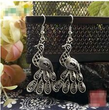 Earrings Silver Indian Peacock Ethnic Boho Tribal Arabic Afghan Bohemian Kuchi