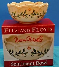 "Fitz And Floyd Porcelain Sentiment Bowl ""Warm Wishes"" Christmas Holiday Bowl"