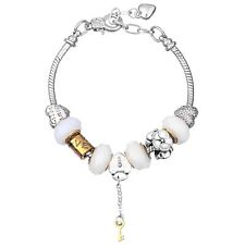 NEW MC Silver Gold Key Lock Heart Flower Murano Beads Charm Heart Clasp Bracelet