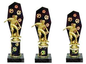 3er Serie Pokale Fussball (636-F) schwarz-gold Höhe=26-24cm m.Gravur 32,95 EUR