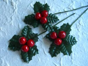 10 HOLLY SPRIGS:: CHRISTMAS in JULY Party Card Table Cake Tree DECORATIONS