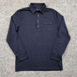 Ralph Lauren RLX Mens Small Long Sleeve Pocket Polo Navy Blue Shirt Poly/Cotton