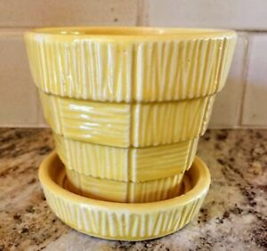 """Vintage McCoy 3"""" flowerpot with attached saucer, yellow, Basket Weave pattern"""