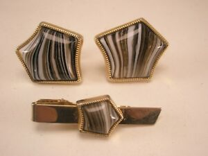 Banded Agate Vintage ANSON VERY LARGE Cuff Links & Tie Bar Clip set plain simple
