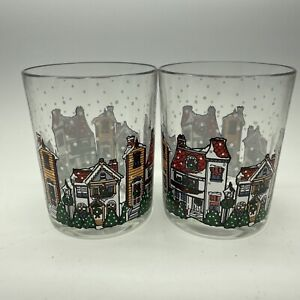 Arcopal Holiday Village Christmas Double Old Fashion Rocks Whiskey Glasses x 2