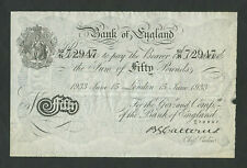 More details for bank of england  catterns £50 white wwii bernhard forgery 1933 banknotes