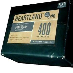 Emerald Green KING Sheet Set Heartland 400 TC 100% HomeGrown Cotton Sateen NEW