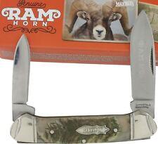 Marbles Rams Horn Handles Canoe Pocket Knife MR360 2 Folding Blades