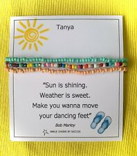 Colourful Beaded Anklets Ankle Chain Sterling Silver Personalised Gift Saccos