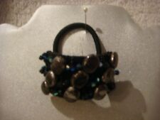 Hair band ponytail holder stones and beads in shades of black