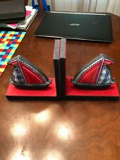 Sailboat Book Ends fabric boats wooden stands