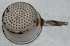 "Gray primitive granite ware enamelware old small 6"" colander strainer FREE S/H"