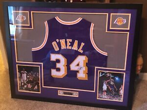 autographed Shaq Shaquille O'Neal framed jersey JSA authenticated lakers