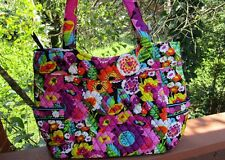 VERA BRADLEY Pleated Tote Bag Large Purse Shopping Travel College Va Va Bloom