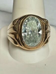 MEN'S SIGNED YELLOW GOLD & 5.75 CT AQUA MOISSANITE RING SIZE 11.5.MADE IN USA