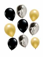 black and gold birthday balloons, marble balloons, black and gold balloon bunch
