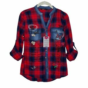 Desigual NWT Patchwork Button Up Denim Long Sleeve Shirt Size Small Embroidered