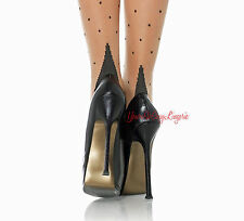 Plus Size CUBAN HEEL STOCKINGS Nude Black POLKA DOT Thigh High 15% SPANDEX Queen