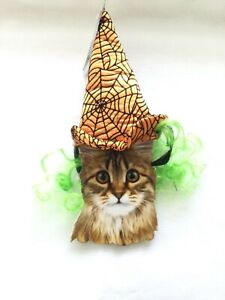 Halloween   Witch Hat With Green Hair For Pets   Cat   Small Dog    New  costume