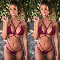 Women Push Up Padded Bra Bandage Bikini Swimsuit Triangle Beach Wear Bathing