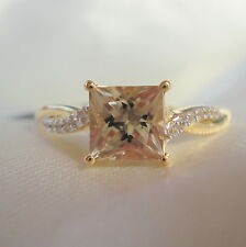 1.34ct Princess Cut Natural Turkish Diaspore Yellow Gold Engagement Ring