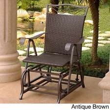 Dark Brown Resin Wicker & Frame Glider Chair Outdoor Rocking Gliding Porch Seat