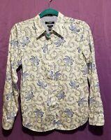 Women's Chaps Long Sleeve No Iron Blouse top Shirt Size Medium Floral Print NWOT