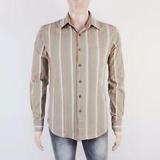 Fat Face Mens Size S M Khaki Peach Stripe Long Sleeve Shirt