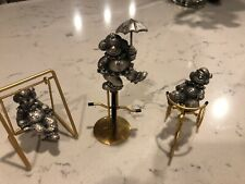 Set Of Three Pewter Clowns On Swing Tricycle Unicycle George Good