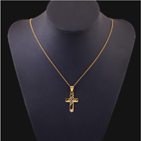 18k Goldkette mit Anhänger vergoldet Kreuz Herren Damen Unisex Kirche Neu G31