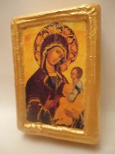 Virgin Mary Jesus Rare Russian Eastern Orthodox Icon on Pine Wood Block