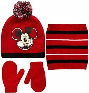 Disney Kids Winter Hat Kids Gloves or Toddlers Mittens, Matching Scarf, Mickey M