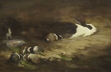 Fine Large 19th Century Dutch Rabbits Bunnies Feeding Antique Oil Painting PIRIE