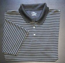 Men's PGA TOUR Golf Polo Shirt Rugby Business Casual Black Gold Stripe XXL  ll-5