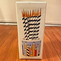 Vintage Stoneware Pencil Cup With 12 Striped Pencils By Lillian Vernon 1984 RARE