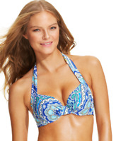 Tommy Bahama Womens Paisley-Print Halter Bikini Top (Surf Blue, 36D)