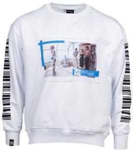 Neu Herren Sweater Oversize Pullover Sweatshirt Barcode Print 1868 Pulli Gr S-XL