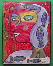 Original surrealista Pintura S silberzweig peces viaje: dar Arte Original