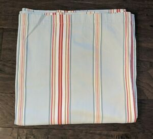 Pottery Barn Vertical Striped Cotton Shower Curtain Blue Red Yellow 72 x 72