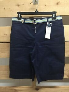 Brand New CHARTER CLUB Navy Blue TUMMY SLIMMING SHORTS w/ BELT Size 4 Small