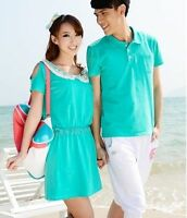 New Couples Clothing Man Short Sleeve T-Shirt And Woman Short-sleeved bead Dress