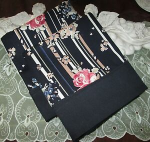 COUNTRY COTTAGE SET OF TWO GARDEN OF MAUVE ROSES & STRIPES PILLOWCASES - NEW
