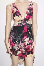 FOREVER 21 Designer Black Floral Chiffon High Low Dress Size M BNWT #SE32
