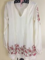 J Jill Hippie Boho Peasant Paisley Floral Embroidered LS Lace Ivory Tunic Top XS
